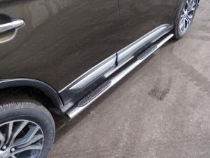 Mitsubishi Outlander 2015 Пороги овальные с накладкой 75х42 мм